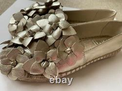 Brand New Tory Burch Floral Blossom Leather Espadrille Shoes GOLD (Size 5.5)