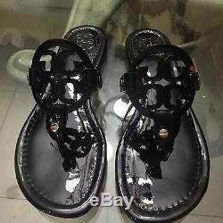 Brand New Tory Burch Miller Sandal Size 8.5 Black Patent