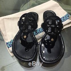 Brand New Tory Burch Miller Sandal Size 8 Black Patent