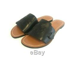 Brand New Women's Tory Burch (40006) Melinda Slide Black Flat Leather Sandals