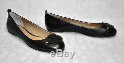 C6 NEW TORY BURCH Black Leather Logo Ballet Flat Shoes Size 9 M $228