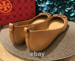 Classy Tory Burch Gabriel Reva Ballet Flat Womens shoes size 9 In Luggage Brown