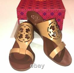 D0 NIB TORY BURCH Zoey Sand-Tan & Brown Leather Wedge Sandal Shoes Size 11 $275