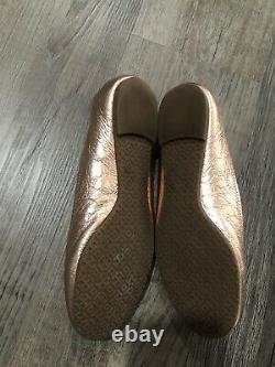 Euc $250 Tory Burch Reva Sequin Leather Ballerina Flat Shoes Gold Copper sz 8.5