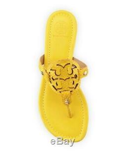 Euc Tory Burch Miller Glossy Snake Print Sandals Sour Lemon Sz 11