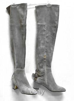 F0 NEW TORY BURCH Laila Suede Over The Knee Block Heel Boots Shoes Size 7.5 $598
