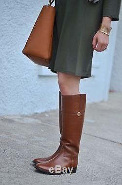 FREE SHIP! NIB Tory Burch Leather Jolie Riding Boot Boots BROWN 7.5 M