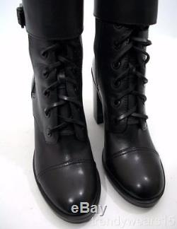 Fast Ship! Mint! Sz 7.5 $450 Tory Burch Broome Military Black Leather Booties
