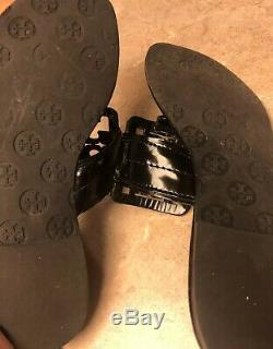 Gorgeous Tory Burch Square Logo Miller Sandals Millers Black Patent Leather 10