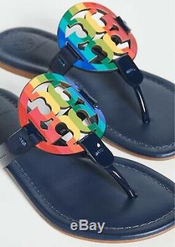 NEW $198 TORY BURCH 11 Miller Navy Leather Rainbow T-Logo Flat SHOES SANDALS