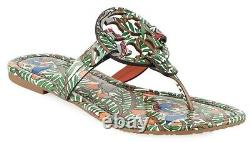 NEW $198 TORY BURCH 6.5 Miller Wild Bird Patent Leather T-Logo Flat SHOES SANDAL