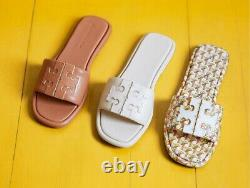 NEW $198 TORY BURCH 6 Leather Double T-Logo Sport Slides Flat SHOES SANDALS