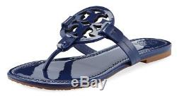 NEW $198 TORY BURCH 6 Miller Indigo Patent Leather T-Logo Flat SHOES SANDALS