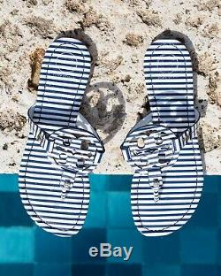 NEW $198 TORY BURCH 7.5 Miller Striped Patent Leather T-Logo Flat SHOES SANDALS