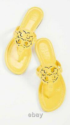 NEW $198 TORY BURCH 7.5 Miller YELLOW Patent Leather T-Logo Flat SHOES SANDALS