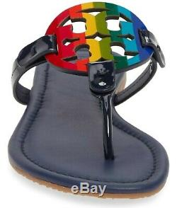 NEW $198 TORY BURCH 8.5 Miller Navy Blue Leather Rainbow TLogo Flat SHOE SANDALS