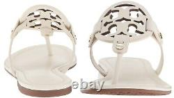 NEW $198 TORY BURCH 8 Miller Bleach White Leather T-Logo Flat SHOES SANDALS