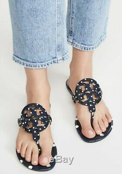 NEW $198 TORY BURCH 8 Miller Navy Dot Patent Leather T-Logo Flat SHOES SANDALS