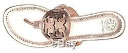 NEW $198 TORY BURCH 8 Miller Rose Gold Metallic Leather T-Logo Flat SHOE SANDALS