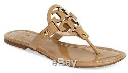 NEW $198 TORY BURCH 8 Miller SAND Patent Leather T-Logo Flat SHOES SANDALS
