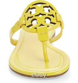 NEW $198 TORY BURCH 8 Miller YELLOW Patent Leather T-Logo Flat SHOES SANDALS