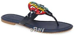 NEW $198 TORY BURCH 9.5 Miller Navy Leather Rainbow T-Logo Flat SHOES SANDALS