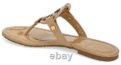 NEW $198 TORY BURCH 9.5 Miller SAND Patent Leather T-Logo Flat SHOES SANDALS