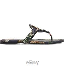 NEW $198 TORY BURCH 9 Miller Happy Times Floral Leather T-Logo Flat SHOES SANDAL