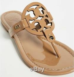 NEW $198 TORY BURCH 9 Miller SAND Patent Leather T-Logo Flat SHOES SANDALS