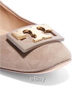 NEW 2017 auth $265 TORY BURCH sz10 Gigi Suede Leather Ballet Pumps SHOES Logo