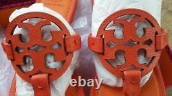 NEW $228 TORY BURCH 10.5 Miller Orange TwoTone Leather T-Logo Flat SHOE SANDALS