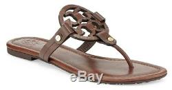 NEW $228 TORY BURCH 6.5 Miller Chocolate Leather Snake T-Logo Flat SHOES SANDALS