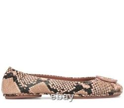 NEW $228 TORY BURCH 7.5 Minnie Travel Blush Snake Leather Ballet Flats SHOES