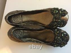 NEW $250 Tory Burch AZALEA Jeweled Bow Flats Metallic Gold Olive Shoes Sz 8 M