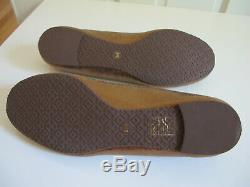 NEW $250 Tory Burch Reva Sequin Leather Ballerina Flat Shoes Gold Copper sz 9.5