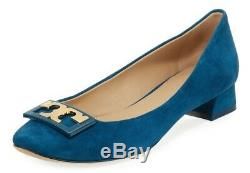NEW $265 TORY BURCH 9.5 GiGi Teal Suede Leather Ballet Heels Pumps SHOES