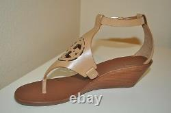 NEW $295 Tory Burch ZOEY Leather Logo Wedge Sandal Shoe Sand Brown Shoe Sz 10 M