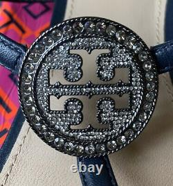 NEW IN BOX Tory Burch Women's Liana Leather Sandals Shoes Royal Navy Size 9.5