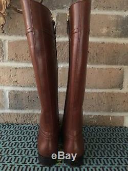 NEW! NIB TORY BURCH Ashlynn Riding Leather Tall Boot in Almond Size 6