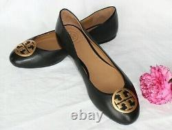 NEW Napa Leather TORY BURCH Black BENTON Logo Ballet Flats Shoes sz 7.5