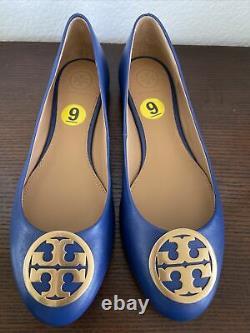 NEW Napa Leather TORY BURCH Royal Blue BENTON Logo Ballet Flats Women's Shoes 9
