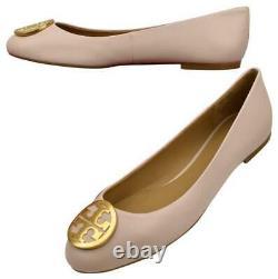NEW Napa Leather TORY BURCH Sea Shell Pink BENTON Logo Ballet Flats Shoes sz 8