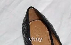 NEW Quilted Leather TORY BURCH Black Grosgrain Bow MARION Ballet Flats Shoes 8.5