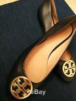 NEW! TORY BURCH BLACK w. Gold LOGO FLATS SIZE 9 Retail 248.00