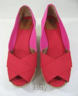 NEW TORY BURCH Criss Cross Filipa Wedge Espadrille Pump Size US 9 Red/Pink Shoes