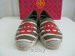 NEW Tory Burch A line Leva Logo Espadrilles Flat Shoes Green Red Stripes sz 8