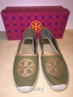 NEW Tory Burch Angus Flat Espadrille Shoe Dark Green 11 US