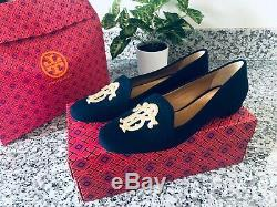 NEW! Tory Burch Antonia Monogram Loafer Shoes Navy Gold Womens SZ 7.5 $298
