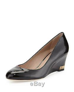 NEW Tory Burch Astoria Mid Wedge 60 Soft Patent Calf Leather Black Shoes 9.5