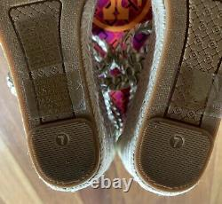 NEW Tory Burch Bailey Wedge Sandals Espadrilles Women's Shoes 7M Spark Gold